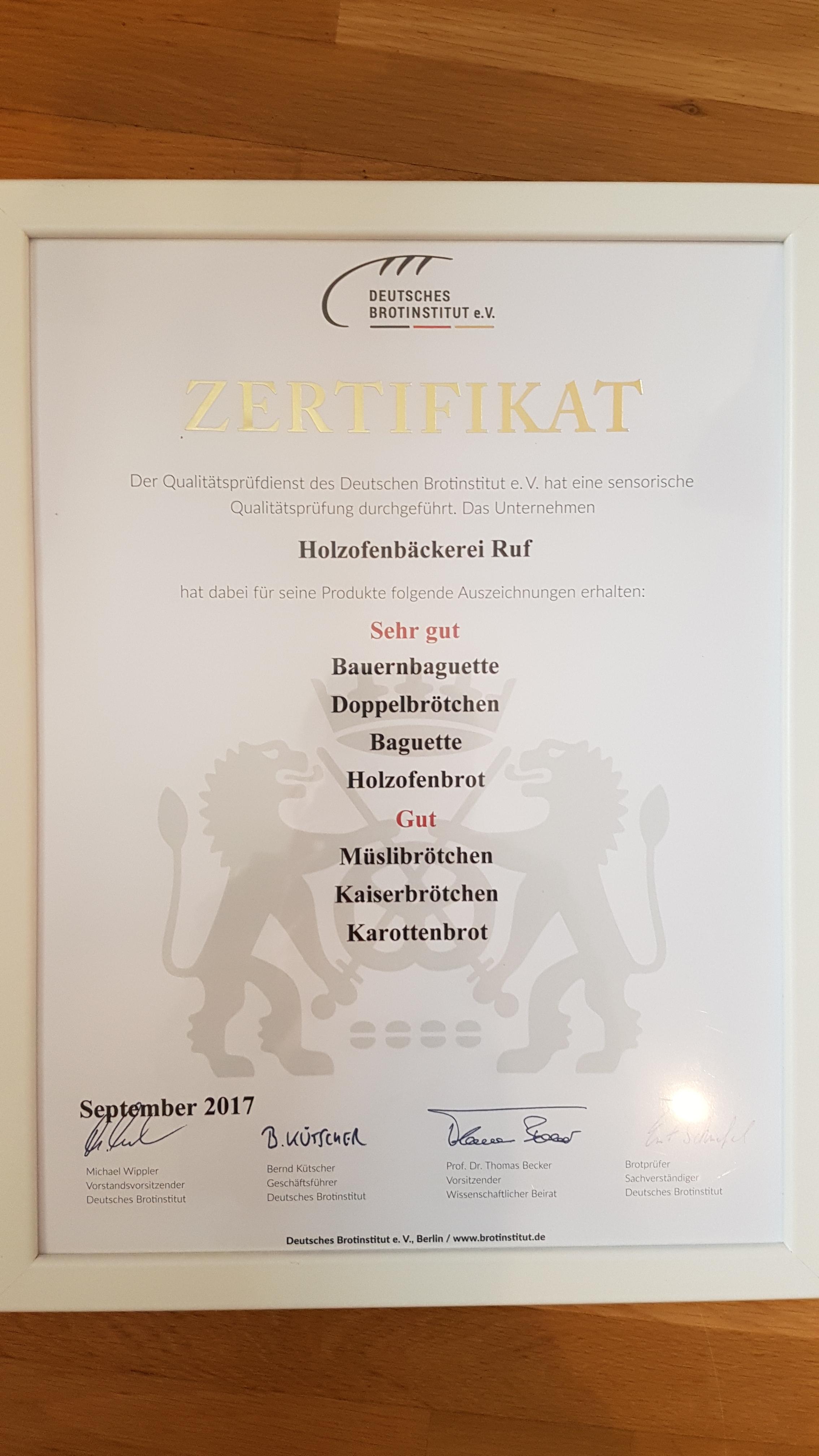 Zertifikat Beckesepp